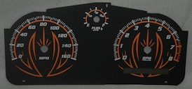Cobalt SS/SC Black and Orange Gauge Face